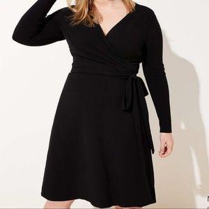 Ann Taylor Loft Plus Black Wrap Dress 24 NWT